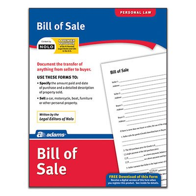 Bill of Sale Forms and Instruction (Set of 288) [Set of 6]