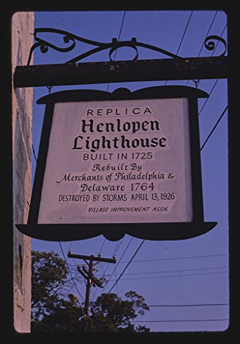 16 x 24 Gallery Wrapped Framed Art Canvas Print of Henlopen Lighthouse Replica Sign, Rehoboth Beach, Delaware 1985 Roadside Americana Ready to Hang 11a