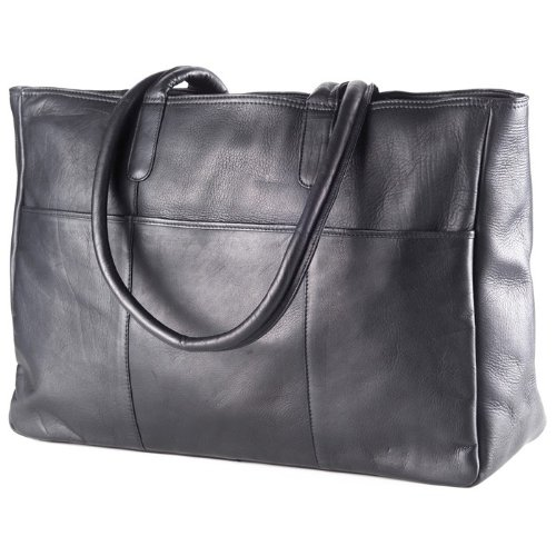 (Clava Leather-Vachetta Luggage Tote in Black)