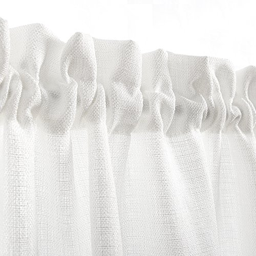 24 inch White Kitchen Tiers Semi Sheer Café Curtains Rod Pocket Casual Weave Textured Half Window Curtains for Bathroom 2 Panels by jinchan (Image #1)'