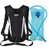 Hydration Pack with 2L Backpack Water Bladder Professional Lightweight Outdoor Tactical Survival Reservoir Men Women Kids Camping Hiking Running Biking Bag (Black)