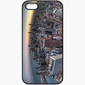 Protective Case Back Cover For iPhone 5 5S Case Chicago Building Skyscrapers Sunset Black