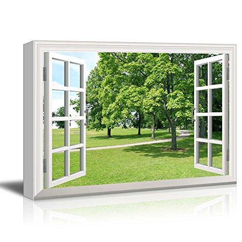 Creative Window View Park Green Trees