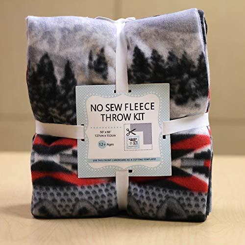 Winter Wolf Stripe No-Sew Throw Fleece Fabric Kit (50x60)