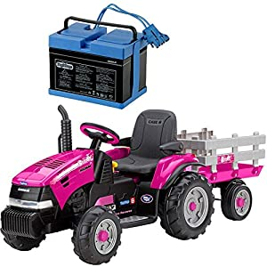 Peg-Perego-Case-IH-Magnum-Tracktor-Trailer-With-12-Volt-Battery-and-Charger-Pink