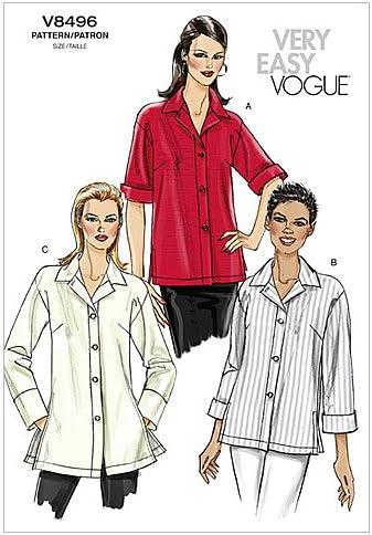 VOGUE PATTERNS V8496 - Patrones de Costura para Camisa de ...