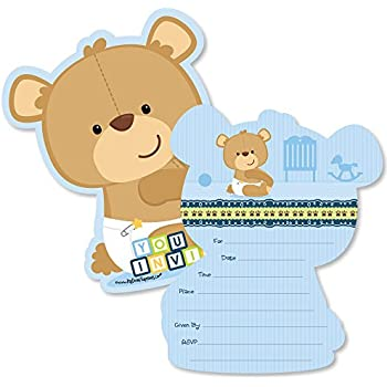 7c52d0da630 Baby Boy Teddy Bear - Shaped Fill-in Invitations - Baby Shower Invitation  Cards with Envelopes - Set of 12
