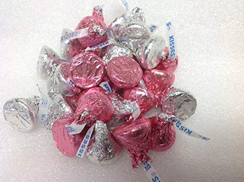 Hershey Kisses Pink and Silver Foil 2 pounds Pink Hershey Kisses Silver -