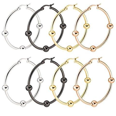 Stainless Steel Hammered Large Hoop Earrings for Women - Round Teardrop Huggie Loops 4 Pairs Sets - Hammered Round Hoop