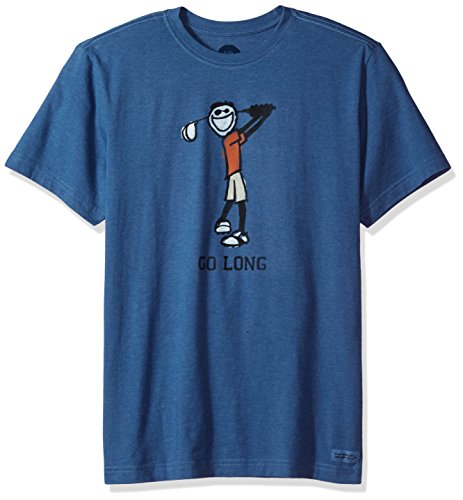 Life is good Men's Crusher Tee Go Long Golf, Heather Vintage Blue, Large