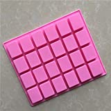 JoyGlobal Silicone 24-Cavity Rectangle Soap Chocolate Jelly Candy Mould, Pink