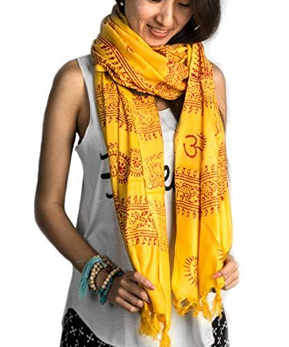 (Large Om Scarf Wrap Yoga 100% Soft Cotton Hand Printed Mantra Prayer Boho Bohemian Yoga Yellow White Black & Blue (Yellow))