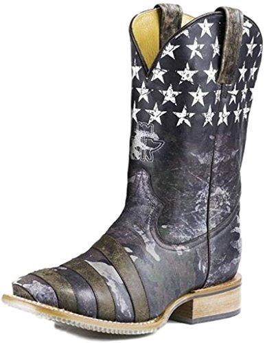 Tin Haul Men's Camo Flag Hunt Club Cowboy Boot Square Toe Ca