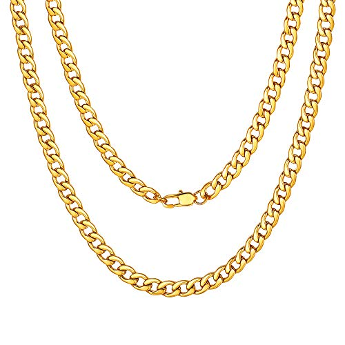 Cuban Chain Gold Plated Necklace for Mens Gift 5mm 22inch Fake Gold Necklace Boys