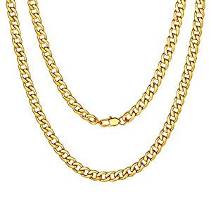 """Best Epic Trends 51jroOyQVGL._SS300_ ChainsPro Mens Sturdy Cuban Chain Necklace, 4/5/6/9/12/13/15 MM Width, 14"""" 18"""" 20"""" 22"""" 24"""" 26"""" 28"""" 30"""" Length, Hip-Hop Cool Style, 316L Stainless Steel/18K Gold Plated/Black-with Gift Box"""