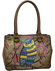 Anuschka Hand Painted Leather WomenS Triple Compartment Medium Tote