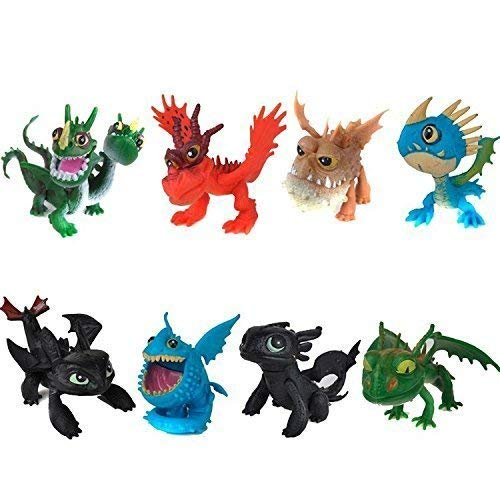 (DRAGOTRAN How to Train Your Dragon 8 pcs, Toothless Dragon Plush Action Figure, Dragon Toy Set: Toothless Night Fury Nadder)