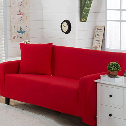 DW&HX All-in-one Stretch Sofa Cover,1-Piece Elastic Polyester Couch Cover Anti-Slip Furniture Protector with Elastic Straps for 1 2 3 4 Cushions Sofas Without Pillowcase-red Chair