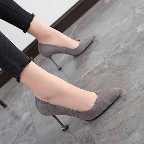 With Gray 9cm High Jqdyl High Black Heeled With Heels Shoes High heels Shoes Pointed Female Mouth A Single Shoes Autumn Shallow HdRw0d