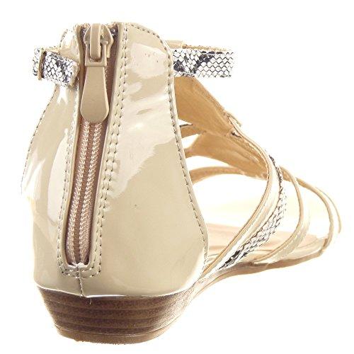 Sopily - Scarpe da Moda sandali Aperto alla caviglia donna Pelle di serpente multi-briglia fibbia Tacco zeppa 2 CM - Beige