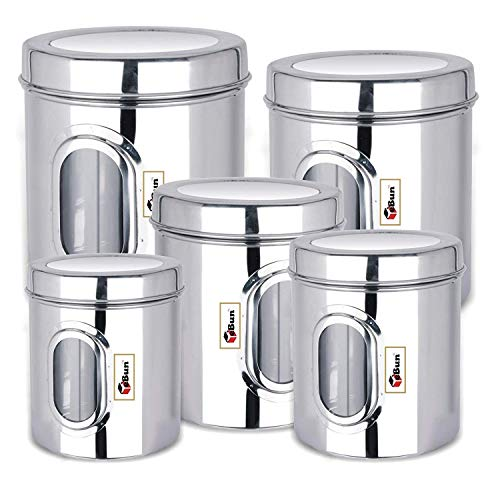 EBun-Stainless-Steel-Set-of-5-Canisters-Containers-Ubha-Dabba-with-lid-for-Kitchen-Storage-8501200140019502500-GMS-See-Through-Design