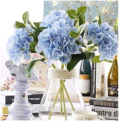 Aonewoe 3 Bouquets Bulk Hydrangea Artificial Flower Fake Flower For Decoration Silk Realistic Artificial Flower Petals For Wedding Flower Bouquet Blue Amazon Sg Home