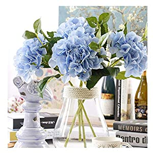 Aonewoe 3 Bouquets Bulk Hydrangea Artificial Flower Fake Flower for Decoration Silk Realistic Artificial Flower Petals for Wedding Flower Bouquet(Blue)