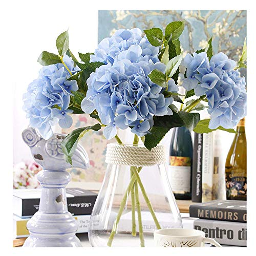 (Furnily 3 Bouquets Bulk Hydrangea Artificial Flower Fake Flower for Decoration Silk Realistic Artificial Flower Petals for Wedding Flower Bouquet(Blue))