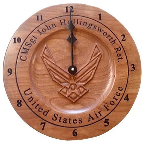 Air Force Personalized veteran gift wooden 3D carved wall clock for service member retirement gift.