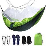 ANQI Outdoor Hammock with Mosquito net, Portable Camping Hammock, Parachute Hammock, with Harness and Solid Carbine, Perfect Hammock Camping, Hiking, Jungle, Beach