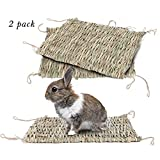 Natural Rabbit Grass Mat Seagrass Mat Handmade Woven Mat, Safe & Edible for Hamsters, Rabbits, Parrot Guinea Pig,Adult Chinchillas and Ferret Chew Mat Toy Bed (2Pack)15.711in