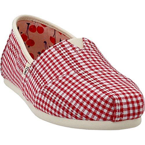 TOMS Women's Alpargata Cherry Tomato Gingham Stripe 11 B(M) - Sneakers Red Women Stripes