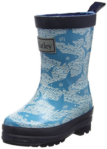 Hatley Jungen Printed Rain Boot Gummistiefel Blue (Shark Alley)