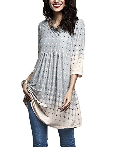 on 3/4 Sleeve Tunic Dress Tops Whith Plus Size Light Grey L ()