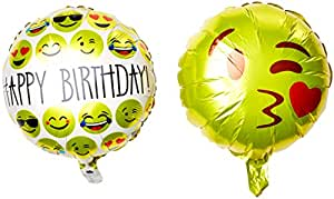 """Ivenf 18"""" Mylar Reusable Emoji Funny Faces Happy Birthday Party Balloons Party Supplies, 10 Pack Set"""