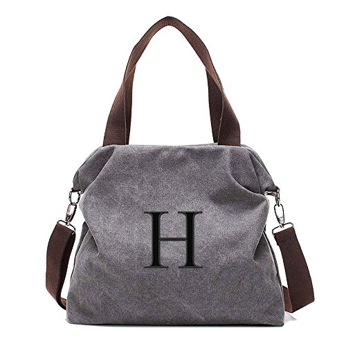 Embroidered Monogram Name Women Casual Canvas Shoulder Bags Cross-Body Bag Messenger Bag Tote ()