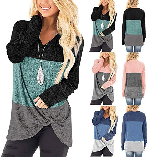 AOKASII Womens Tops and Blouses, Womens Color Block Long Sleeve Round Neck T Shirts Blouses Sweatshirts Tops