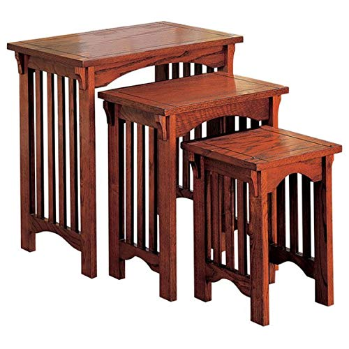 3 Piece Nesting End Table Set - Wood End Table - Brown (Square Iron Tables Nesting)