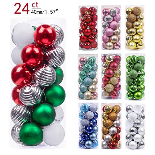Valery Madelyn 24ct 40mm Classic Collection Splendor Red Green White Shatterproof Christmas Ball Ornaments Decoration,Themed with Tree Skirt(Not Included)