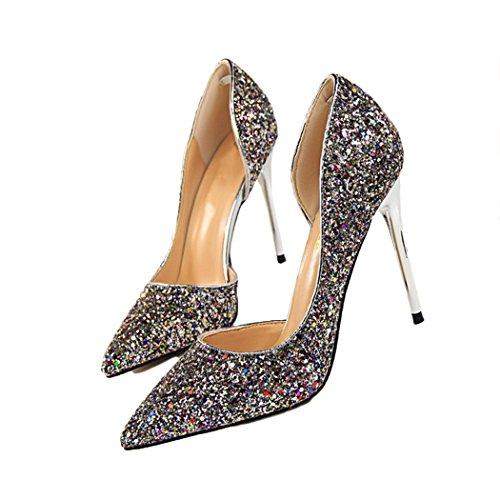 à Escarpin HANMAX en Chaussures Cocktail Mariée de Pailleté Haut Talons Mariage Cristal Femme de Multicolore Soirée rpI4wdxqUI