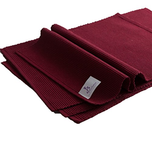 Best Token 4-piece Soft and Absorption Placemats Coaster Table Mats Pad (Burgundy)