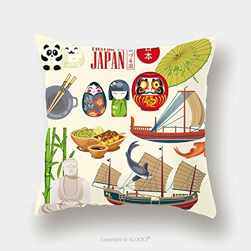 Custom Satin Pillowcase Protector Colorful Japan Travel Poster Travel To Japan There Is Text In Japanese Japan And Land Of The 458715307 Pillow Case Covers Decorative by chaoran