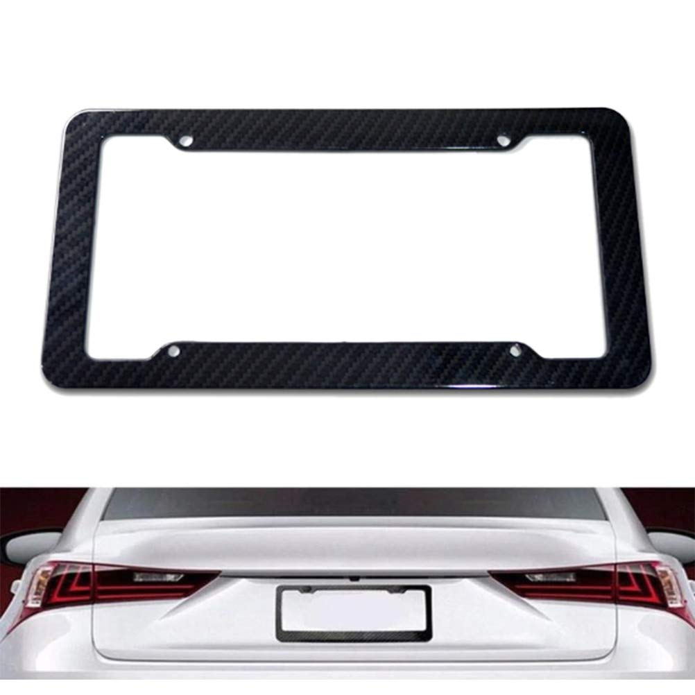 BraveWind 2 Set Carbon Fiber License Plate Frame Universal Car Licence Plate Covers Holders 4 Holes With Matching Screw Caps for US Vehicles