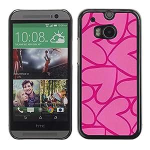 TopCaseStore / la caja del caucho duro de la cubierta de protección de la piel - Purple Love Valentines - HTC One M8