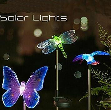 Banwen Solar Powered Hummingbird Butterfly Dragonfly Garden