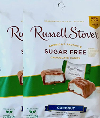 Russell Stover Sugar Free Chocolate Candy Dark Chocolate , Peanuts & Coconut Net Wt 3oz (Coconut, pack of 2)