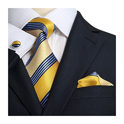 Blue Stripe Silk Tie (Landisun Stripes Mens SILK Tie Set: Tie+Hanky+Cufflinks 15N Blue Yellow, 3.25