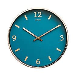"Luxury Modern 12"" Silent Non-Ticking Wall Clock with Rose Gold Frame (Blue Shore)"