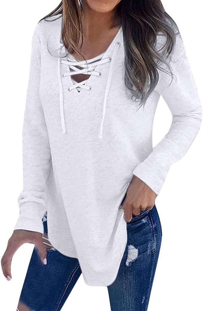 OPAKY Correa con Cuello en V para Mujer Camiseta de Manga Larga Top Blusa de Otoño Primavera Camiseta Casual Moda de Manga Larga para Mujer Tallas Grandes Camisetas de Señoras Tops de