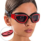 AqtivAqua Swim Goggles ~ Wide View Swimming Goggles for Adult Men Women Youth Child (Red/Black Color)